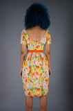 Floral Silk Dress with Tulip Skirt and Velvet Bow - Embers / Cinders Vintage