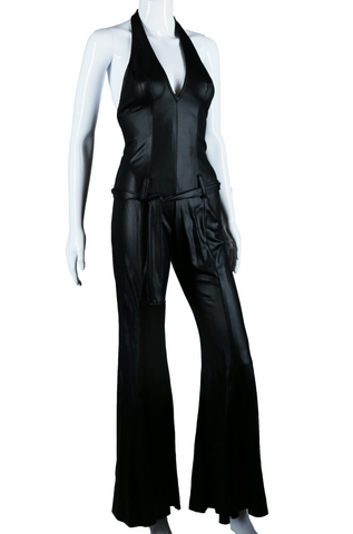 Liquid Slick Black Deep V Halter Jumpsuit