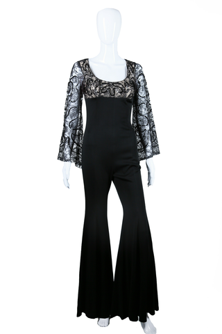 Lace and Sequin Illusion Jumpsuit - Embers / Cinders Vintage