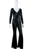 Sexy Liquid Stretch Bell Bottom Jumpsuit - Embers / Cinders Vintage