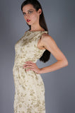 Gold Brocade and Tie Sleeve Party Dress - Embers / Cinders Vintage
