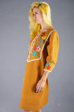 Mexican Embroidered Yoke Dress - Embers / Cinders Vintage