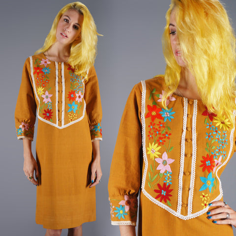 60s Mexican Embroidered Dress Vintage Yoke With Lace Orange Mustard Mod Dress - Embers / Cinders Vintage - 1