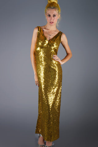 Solid Gold Sequin Gown - Embers / Cinders Vintage