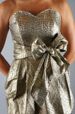 Vintage 80s Crocodile Snakeskin Gold Mini Wrap Dress - Embers / Cinders Vintage