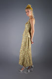 Heavily Beaded Gold on Green Satin - Embers / Cinders Vintage