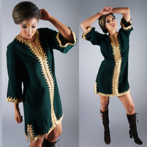 Vintage 60s Emerald Green Velvet Embroidered Gold Dress Angel Sleeves -  - 1