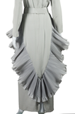 Grey Ruffle and Pleats Maxi Dress - Embers / Cinders Vintage