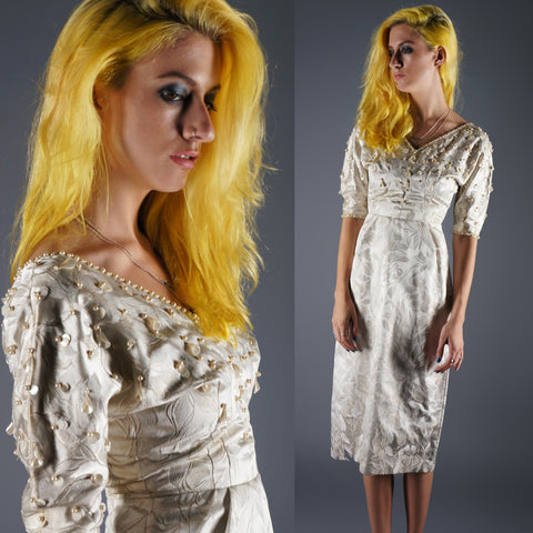 Vintage 50s Beaded Sequin Pearls Ivory Wiggle Dress Jacquard Bombshell -  - 1