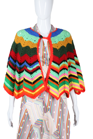 Rainbow Knit Sweater Cape - Embers / Cinders Vintage