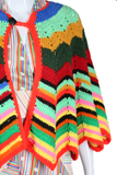 Rainbow Knit Sweater Cape