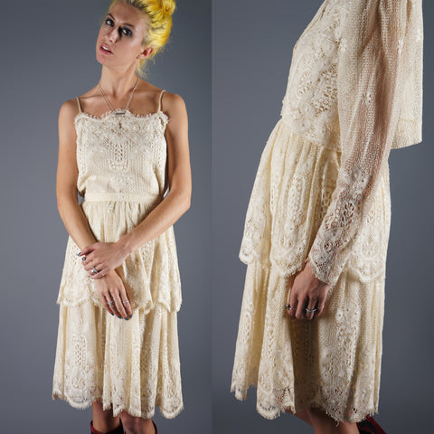 Vintage 60s Ivory Victorian Style Lace Dress Three Piece Set -  - 1