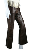 Leather Whipstitch Bell Bottom Pants - Embers / Cinders Vintage