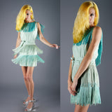 Vintage 60s Silk Ombre Fringe Mini Dress Go Go Mod 60s Does 20s - Embers / Cinders Vintage