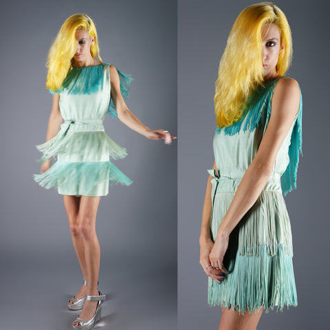 Vintage 60s Silk Ombre Fringe Mini Dress Go Go Mod 60s Does 20s -  - 1