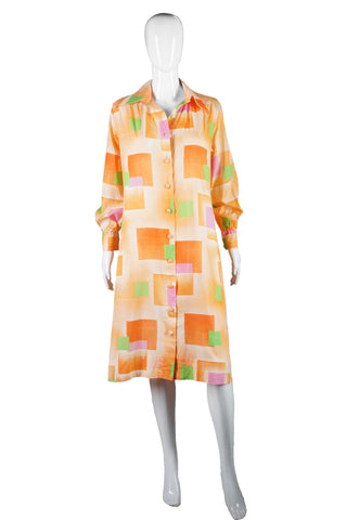 Lanvin Orange Color Block Print Shirt Dress