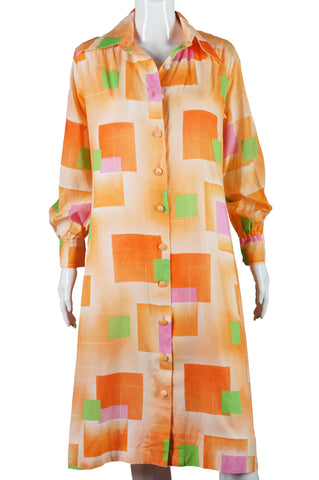 Lanvin Orange Color Block Print Shirt Dress - Embers / Cinders Vintage