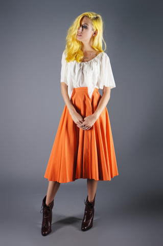 Vintage 50s Orange Circle Skirt in Rayon with Full Swing - Embers / Cinders Vintage