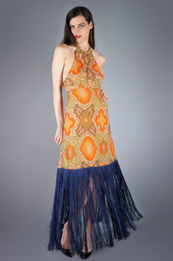 Paisley Halter and LONG Fringe Maxi Dress - Embers / Cinders Vintage