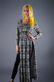 Vintage 60s Sky High Slits Maxi Dress in Paisley Op Art Graphic Print - Embers / Cinders Vintage