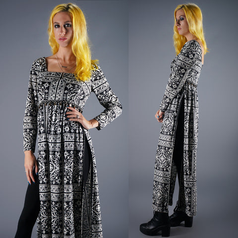 Vintage 60s Sky High Slits Maxi Dress in Paisley Op Art Graphic Print -  - 1