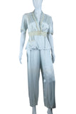 40's Pastel Blue Pajamas with Lace Midriff