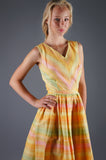 Vintage 50s Pastel Yellow Multi Stripe Swing Day Dress Easter Colors - Embers / Cinders Vintage