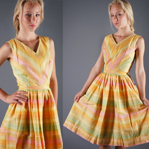 Vintage 50s Pastel Yellow Multi Stripe Swing Day Dress Easter Colors -  - 1