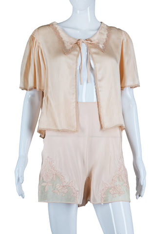 Peach Satin Bed Jacket
