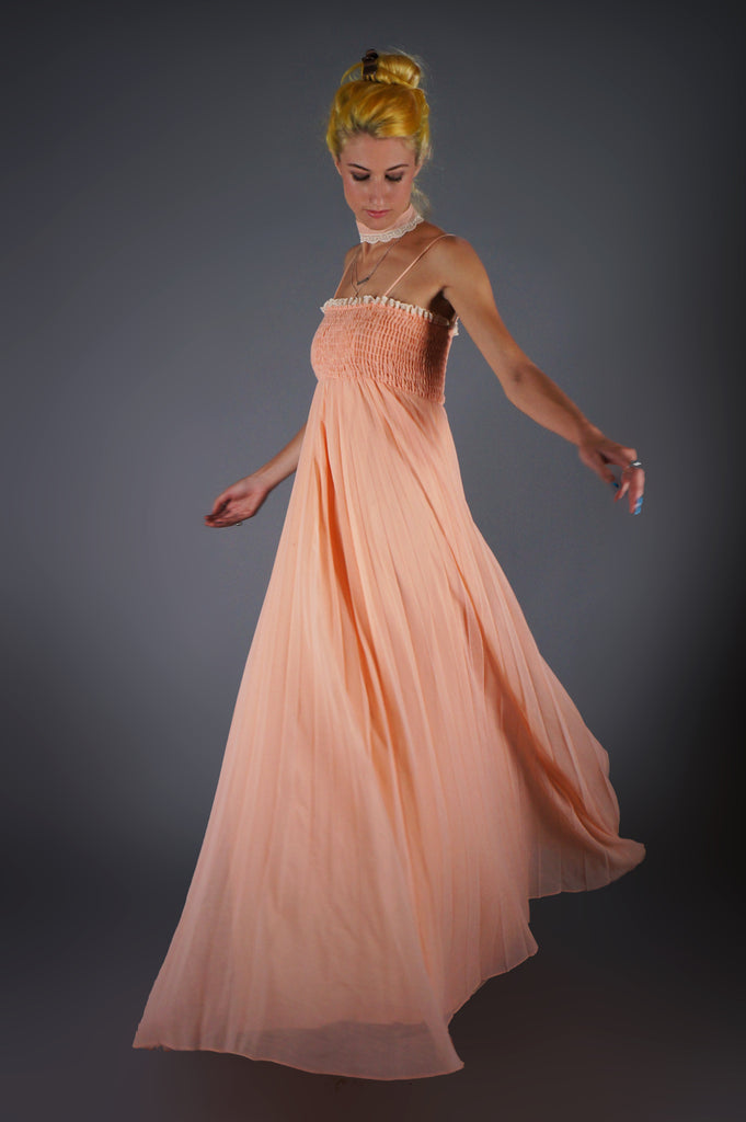 Peach Maxi Dress With Lace Collar