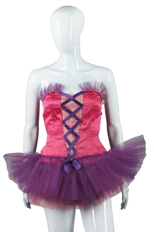 Purple and Pink Lace Up Front Dance Costume