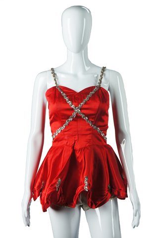 Red and Silver Sequin Dance Costume