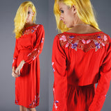 Embroidered Orchids Net Dress - Embers / Cinders Vintage
