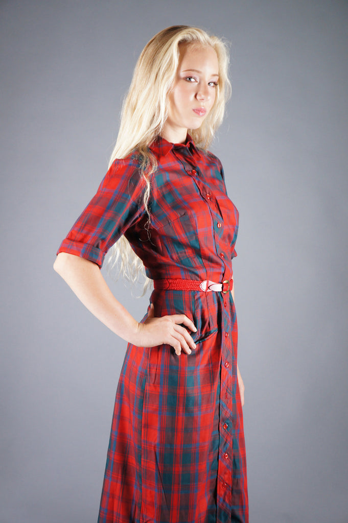Plaid Sheath Belted Day Dress - Embers / Cinders Vintage