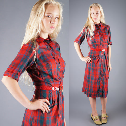 Vintage 50s Red Green Plaid Sheath Belted Day Dress -  - 1