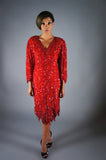 Red Beaded FIREBIRD Gown - Embers / Cinders Vintage