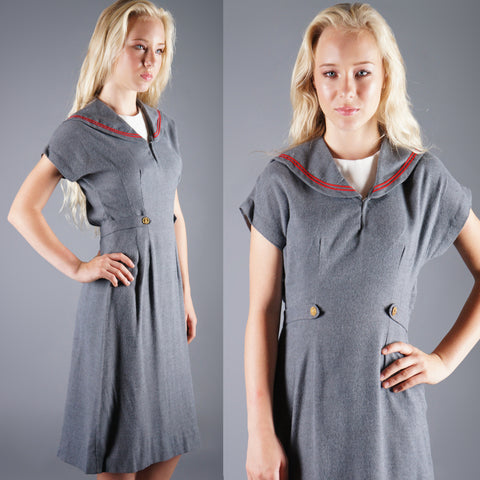 Vintage 60s Gray Sailor Bonnie Blair Dress -  - 1