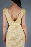 Pastel Yellow Sequin Soutache Dress
