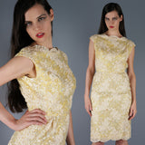 Pastel Yellow Sequin Soutache Dress - Embers / Cinders Vintage