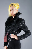 Sequin Feather Statement Jacket - Embers / Cinders Vintage
