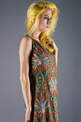 Beaded Sequin Peacocks Maxi Dress - Embers / Cinders Vintage