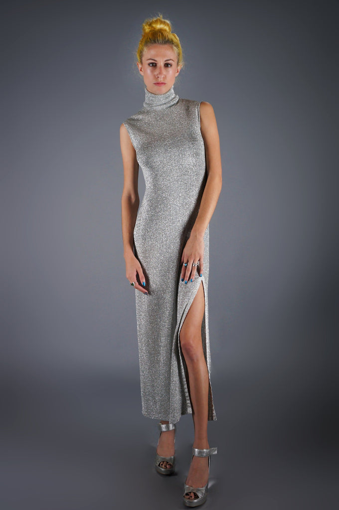 Space Age Silver Maxi Dress With High Slit - Embers / Cinders Vintage