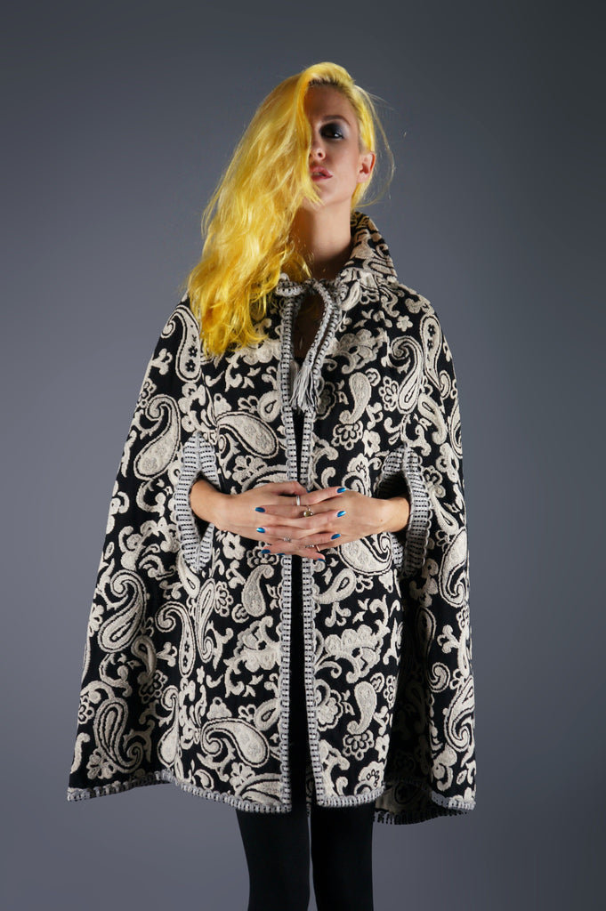 Vintage 60s Tapestry Cape With  Tassel Ties in Paisley Black and Ivory print - Embers / Cinders Vintage