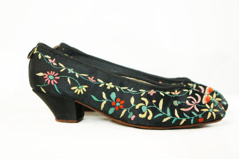 Embroidered Butterfly Shoes - Embers / Cinders Vintage