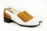 Two Tone Mod Tan and White Mary Janes - Embers / Cinders Vintage