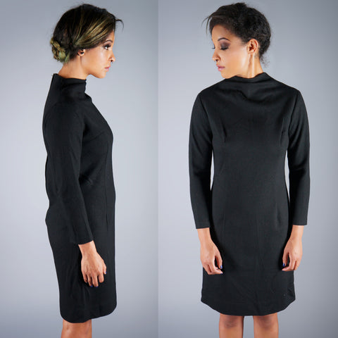 Vintage 60s Mod Black Wool Funnel Neck Tailored Dress -  - 1