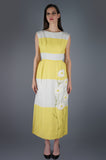 White and Yellow Striped Maxi Dress with Beaded Daisies