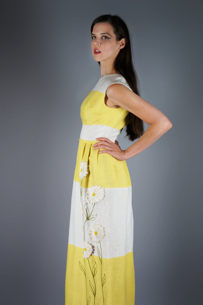 White and Yellow Striped Maxi Dress with Beaded Daisies - Embers / Cinders Vintage