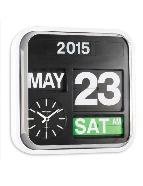Wall Calendar Clock, Large Flip Figures, 32 x 32cm