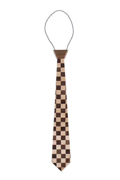 """Checkerboard"" Hardwood Necktie"